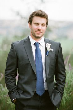 dark gray wedding suit with blue tie - Google Search | The Girl Who ...