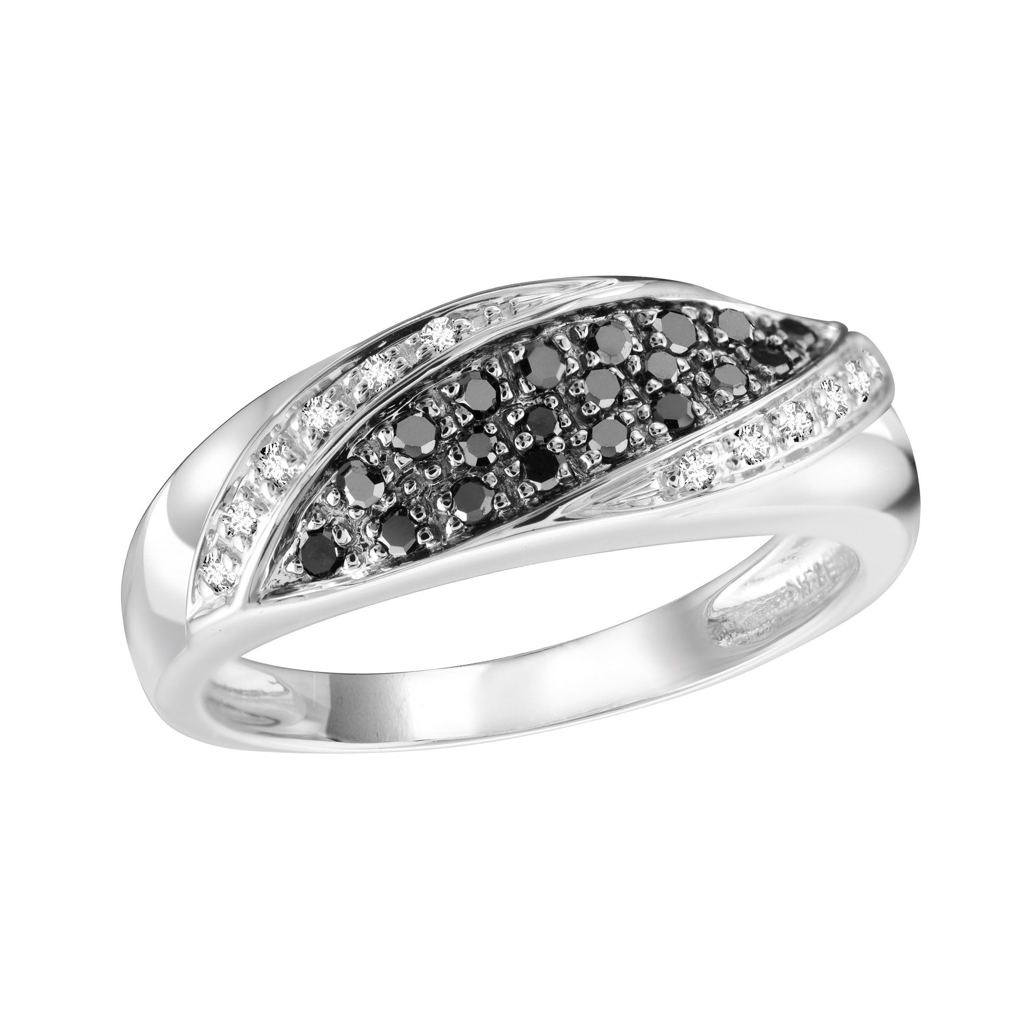 Silver Authentic Black Diamond and CZ Size Ring
