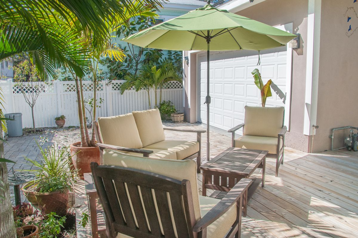 Large patio perfect for outdoor gatherings and cookouts