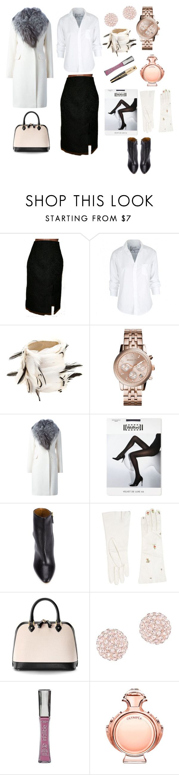 """""""Office Style"""" by elena-kononenko ❤ liked on Polyvore featuring Frank & Eileen, My Vintage Academy, Michael Kors, Diane Von Furstenberg, Wolford, Chloé, Dsquared2, Aspinal of London, Swarovski and L'Oréal Paris"""