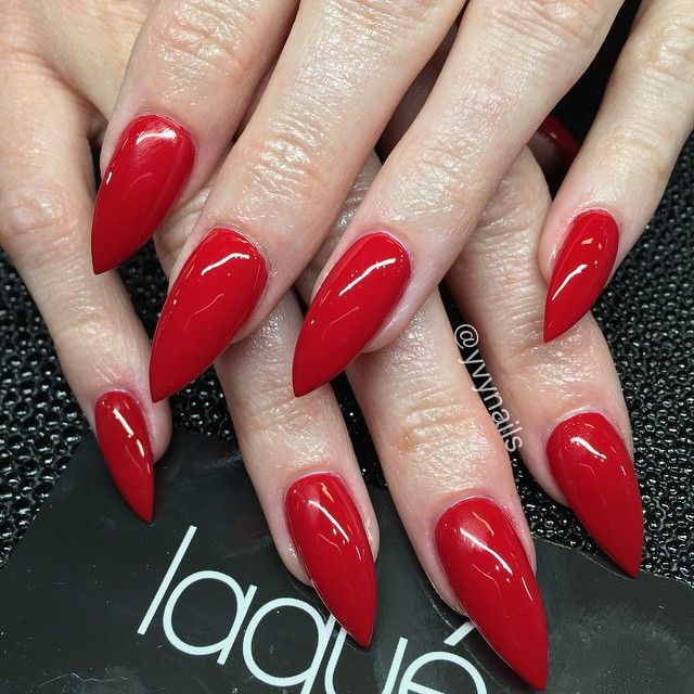 Red Stiletto Nails: Classic Red Stiletto Nails For Valentine's Day ️