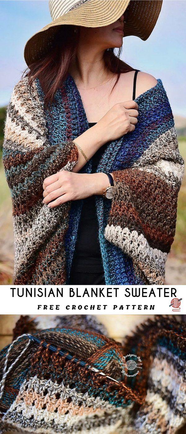 Tunisian Blanket Sweater Crochet Pattern [FREE #sweatercrochetpattern
