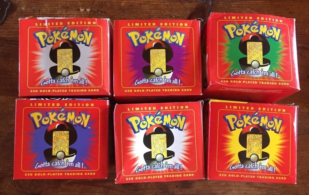 COMPLETE SET of Pokemon 23k Gold- Plated Trading Cards - All 6 Characters!!
