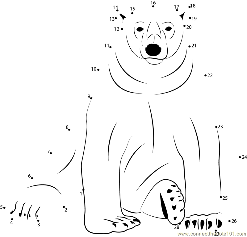 Free coloring pages of bear dot