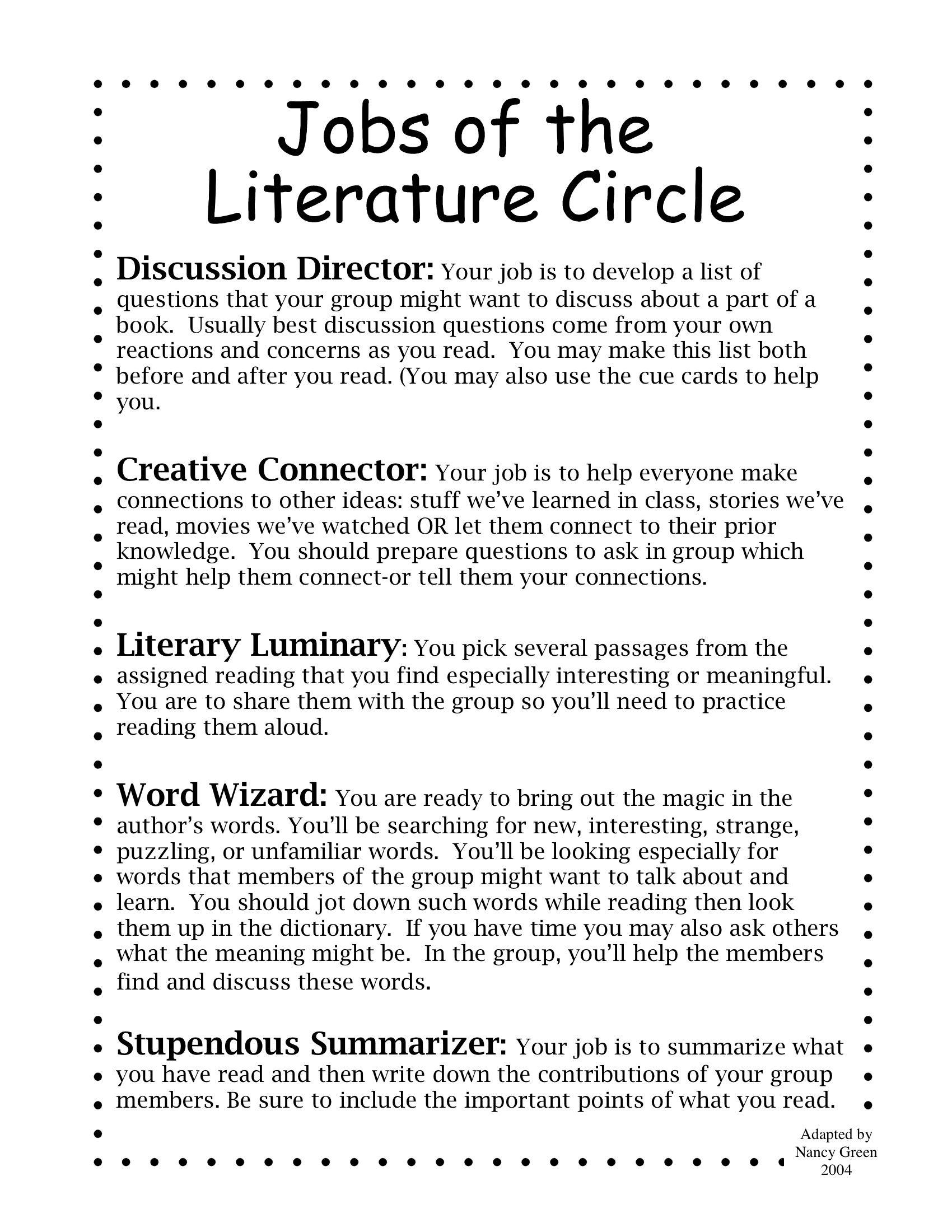 Literature Circle Jobs Stupendous Summarizer Is Better