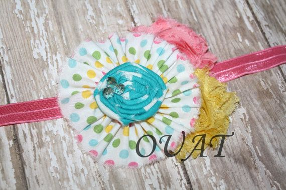 Pastel fabric and Shabby Headband by OnceUponATimeAR on Etsy, $8.95
