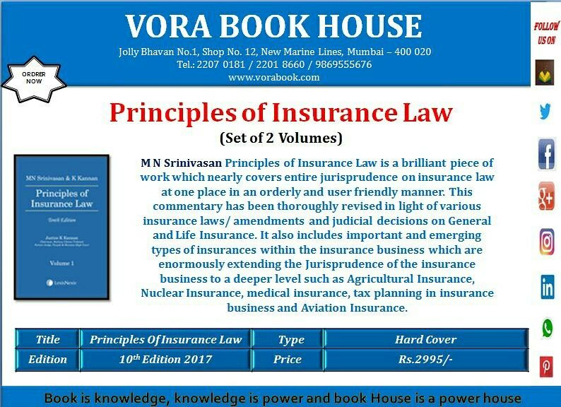 Title Principles Of Insurance Law Set Of 2 Volume Author M N