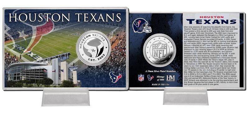 Houston Texans Silver Coin Card Stadium Houston texans