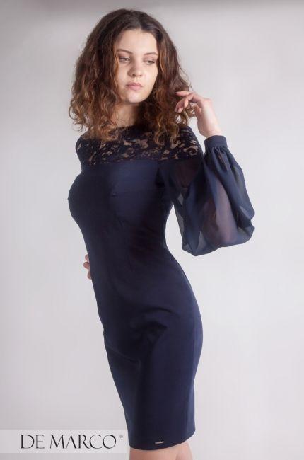 f0fb308a4b Granatowa sukienka biznesowa. Wizyty