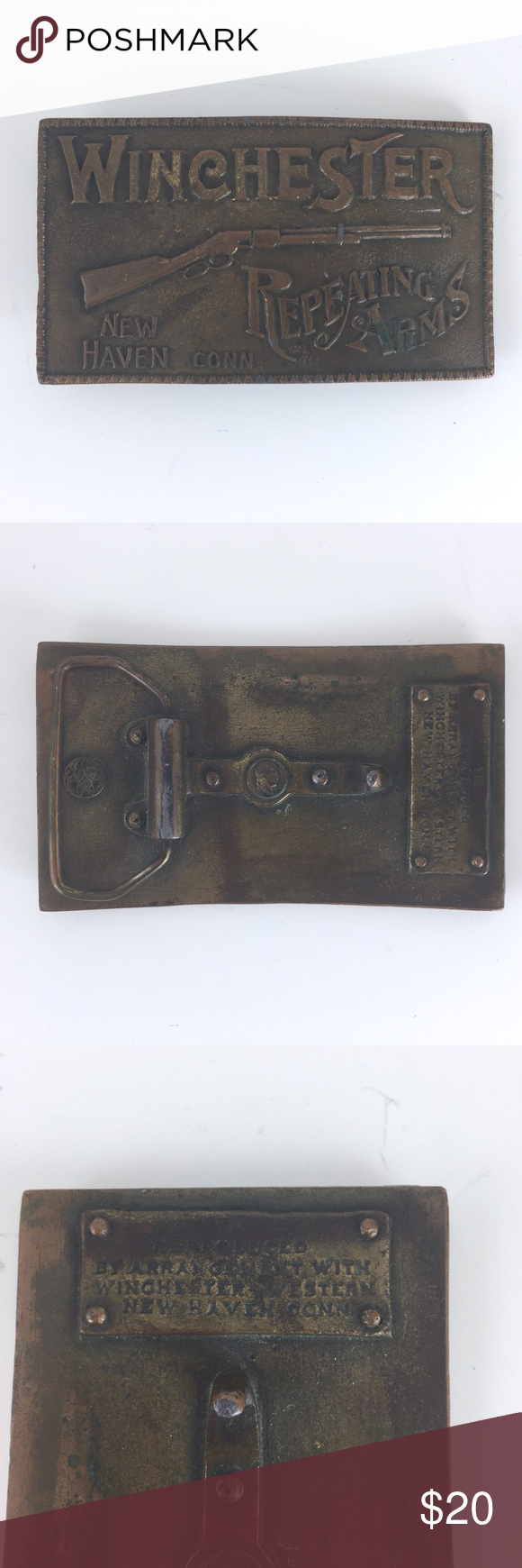 """Vintage Winchester New Haven Arm Rifle Belt Buckle This is a Winchester new heaven repeating arms rifle firearms belt buckle. Good condition. Some minor Wear from previous use. Size : 4"""" x 2.25"""" suitable for 1.75"""" width belt None Accessories Belts"""