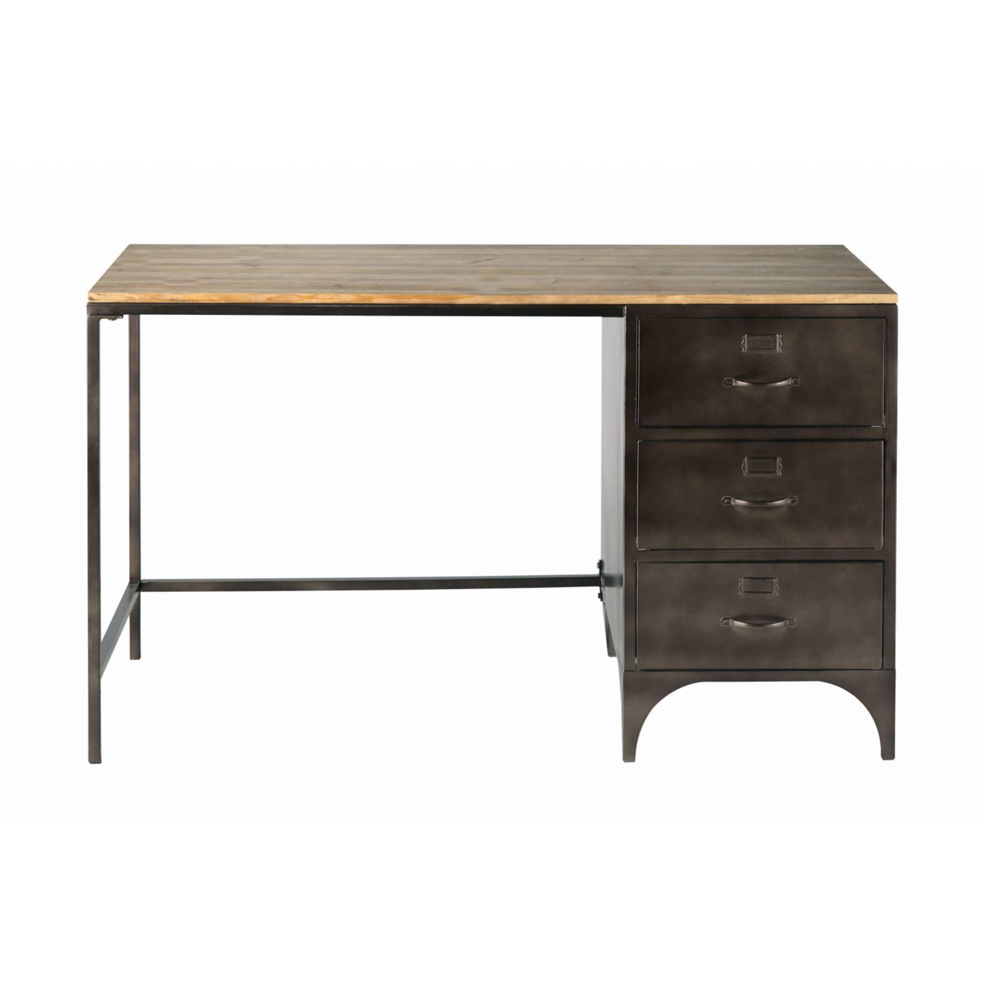 Bureau Indus 3 Tiroirs En Metal Et Sapin Wayne Schreibtisch Hausburo Schreibtische Schreibtischideen