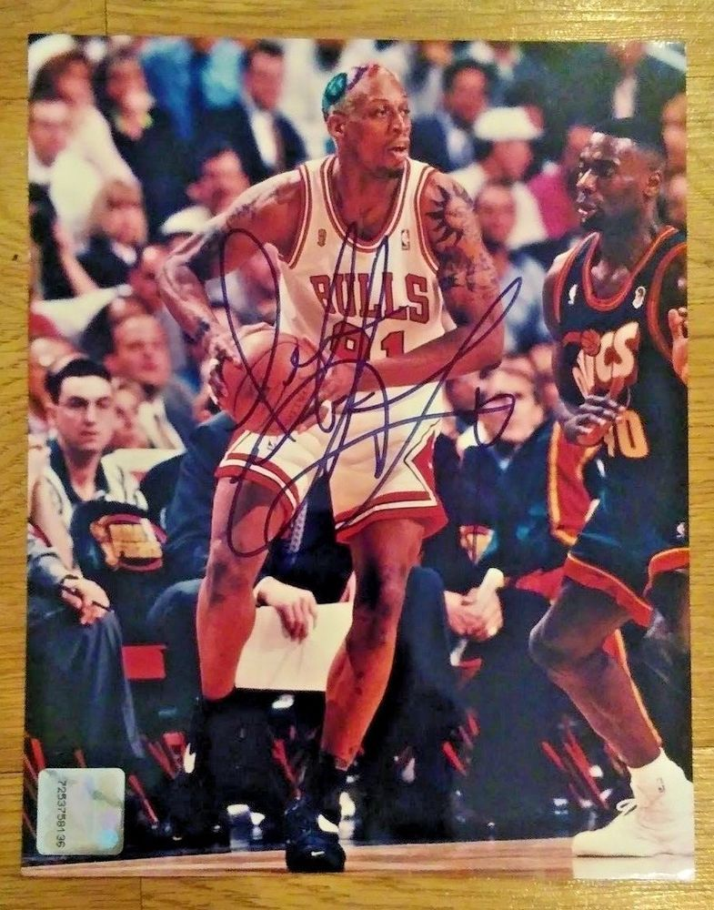 uk availability 6f1eb cb9e2 Authentic Dennis Rodman Autographed 8 x 10 Photograph Signed ...