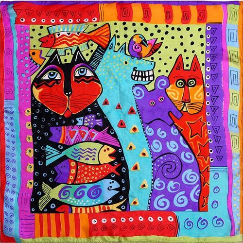 Cat Lovers Silk Scarf - 50cm Small Bandana Style - Choose From 10 Gorgeous Deigns