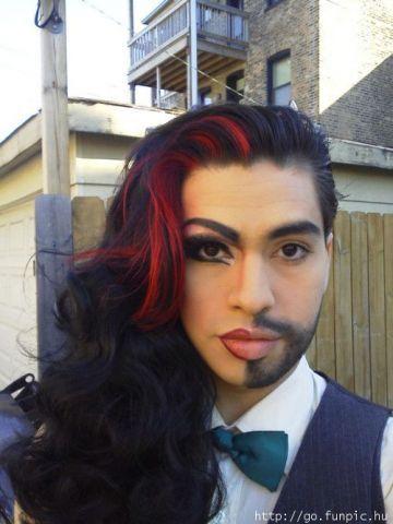 half man woman makeup make-up costume | fantasy looks | Pinterest ...