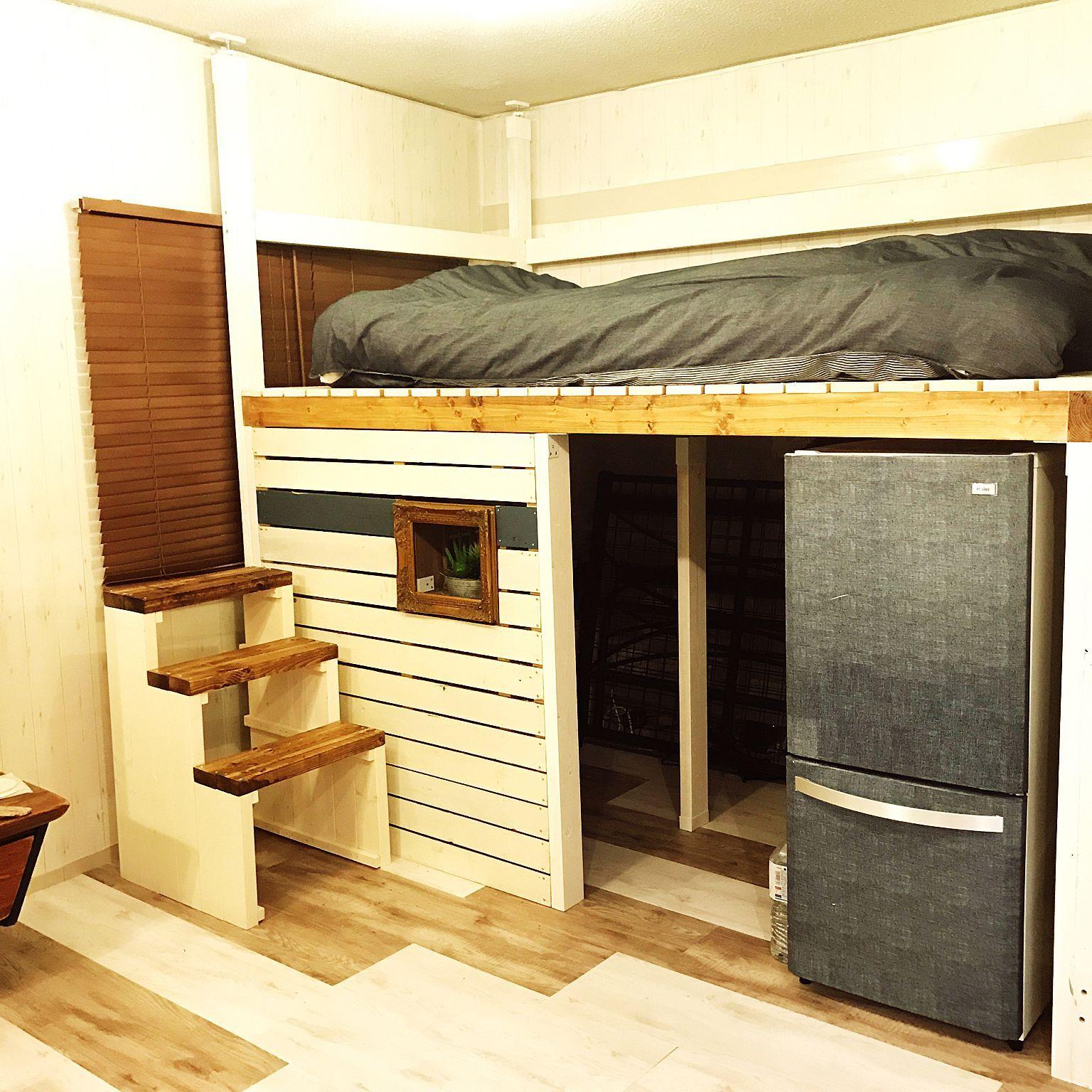 ベッド周り 2 4 ハンドメイド Diy 2 4材 などのインテリア実例
