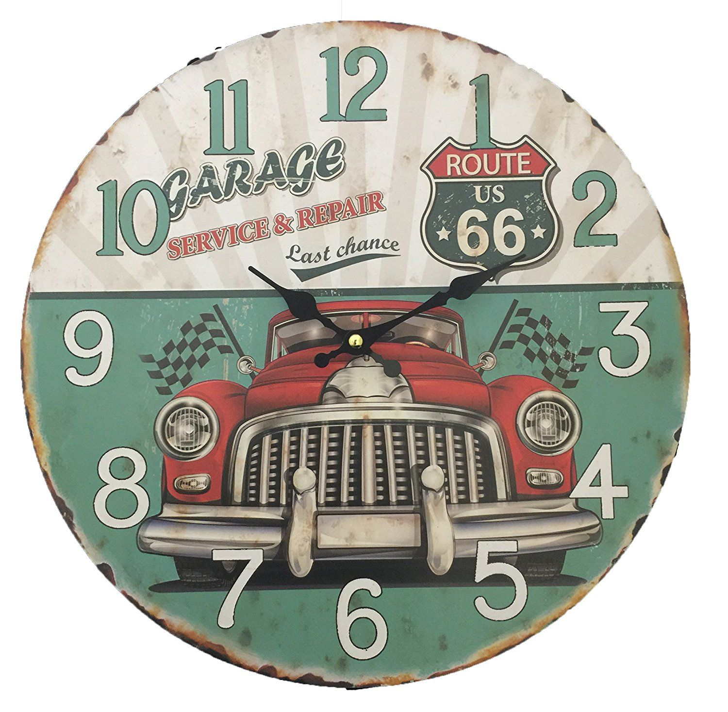 Creative Motion 22027 4 Wall Clock With Route 66 And Car Design
