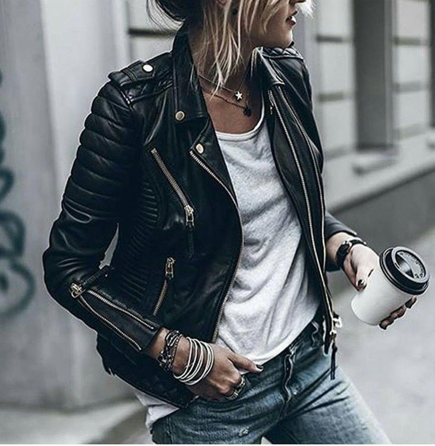 Damen Motorrad Mode Lederjacke