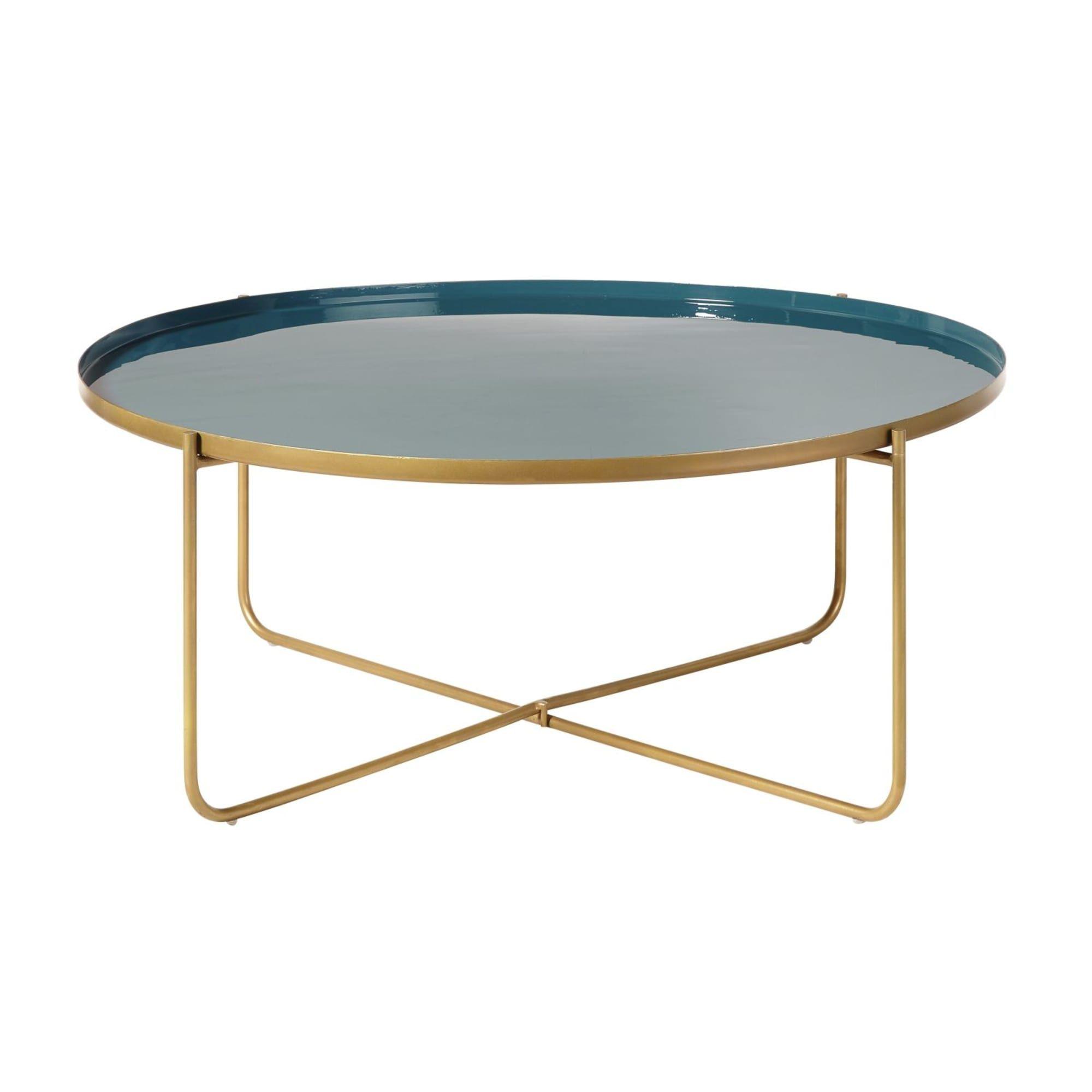 table basse ronde en metal bleu canard