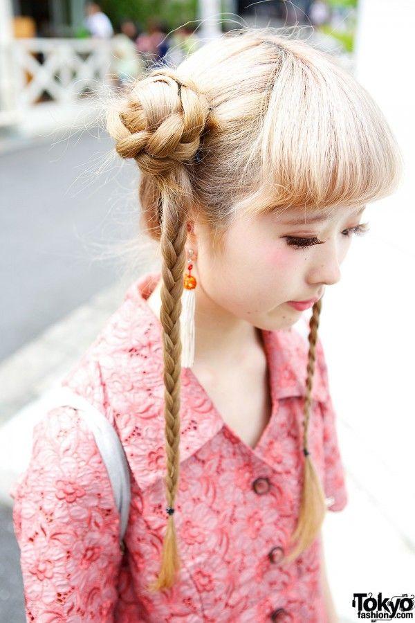 Kinako On Tokyofashion Com Braided Buns Tails Japanese Hairstyle Hair Styles Long Hair Styles