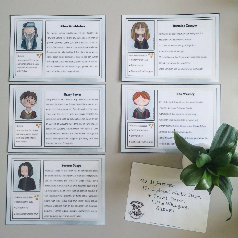 Harry Potter Abschreibkartei Buchvorstellung Grundschule Unterrichtsmaterial Kartei