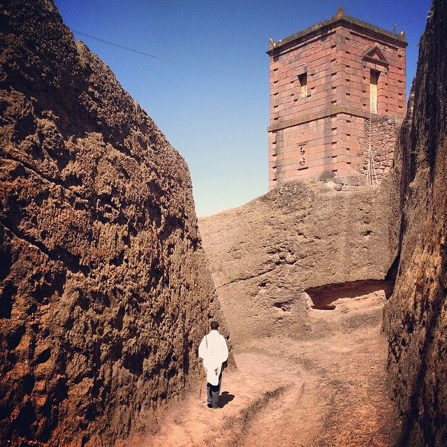 The 12th c. rock hewn alleyways of Lalibela, Ethiopia. The entire complex was built top-down by carving into the ground and cutting into the rock.