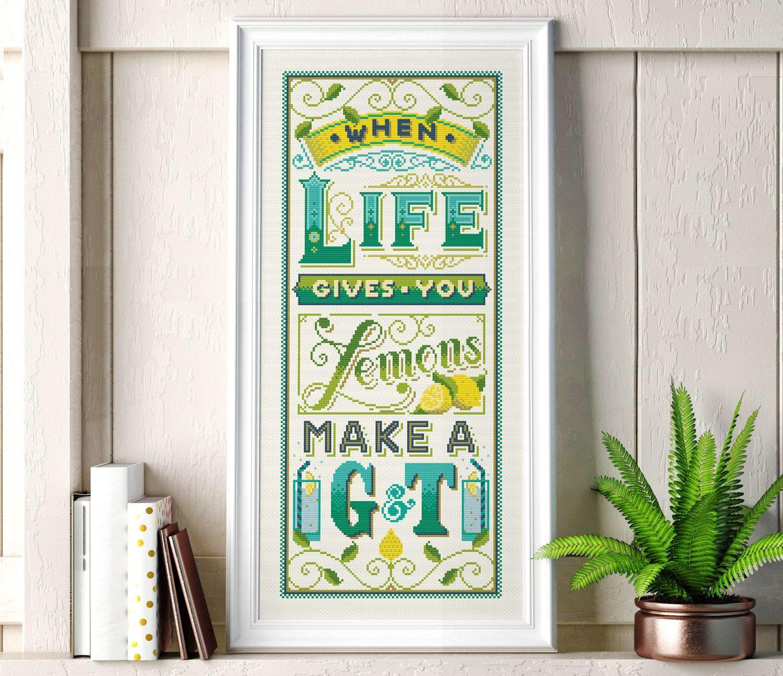 When life gives you lemons - Cross Stitch Pattern (Digital Format - PDF) by Stitchrovia on Etsy https://www.etsy.com/uk/listing/518613247/when-life-gives-you-lemons-cross-stitch
