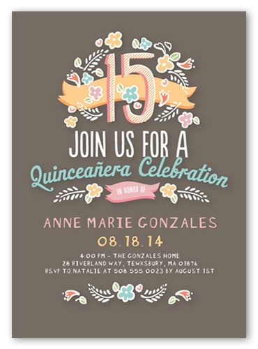 Floral fifteen quinceaera quinceanera invitations floral fifteen 5x7 invitation card quinceanera invitations shutterfly filmwisefo Image collections