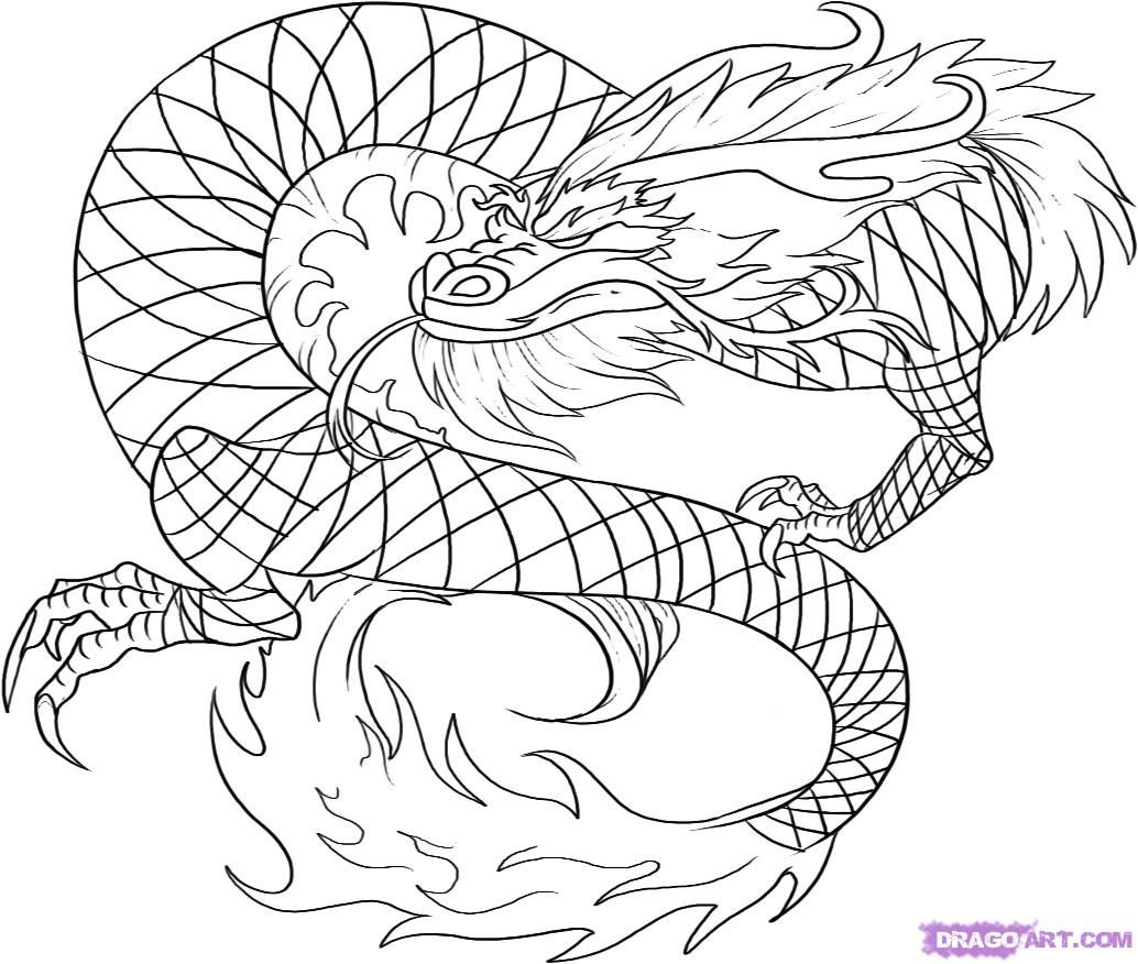 how-to-draw-a-red-chinese-dragon-step-6.jpg (1034×876) | Dragons ...