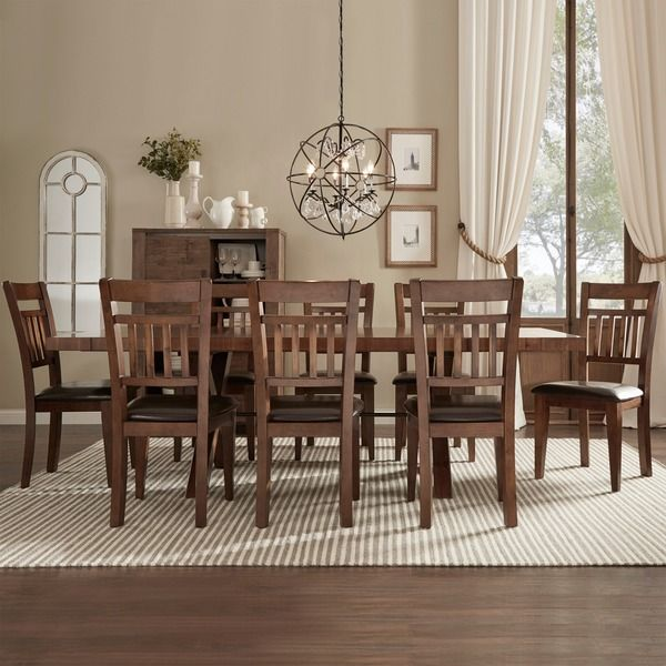 Tribecca Home Inverness Warm Oak Turnbuckle 9Piece Mission Dining Mesmerizing 9 Piece Dining Room Inspiration