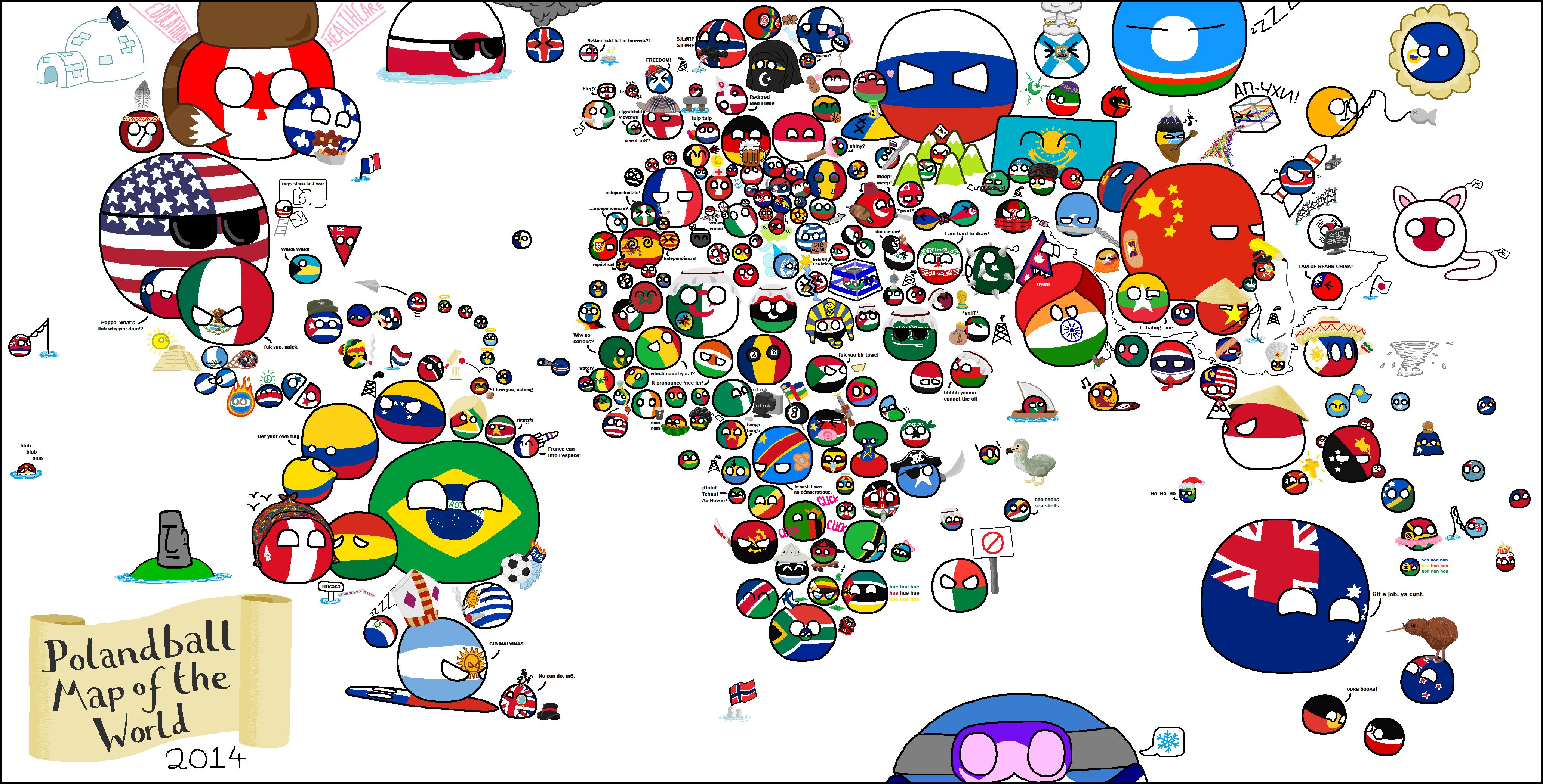 Polandball Map Of The World 2017.Polandball Map Of The World 2014 Weird Nerdy Stuffs World
