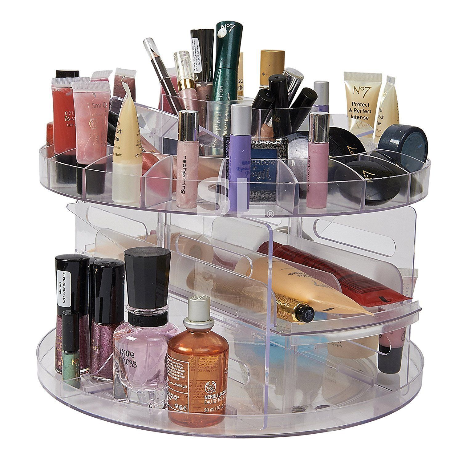 Comestic Carousel 360 Rotating Acrylic Cosmetic Organiser Makeup Storage Box