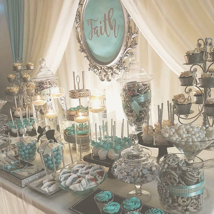 Silver And Frosty Turquoise Sparkly Dessert Table Perfect For A Baptism Holy Communion Baby Sweet 16 Party Decorations Wonderland Sweet 16 Sweet 16 Candles