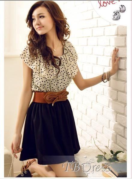 Beautiful Polka Dots Back Bowknot Short Dress