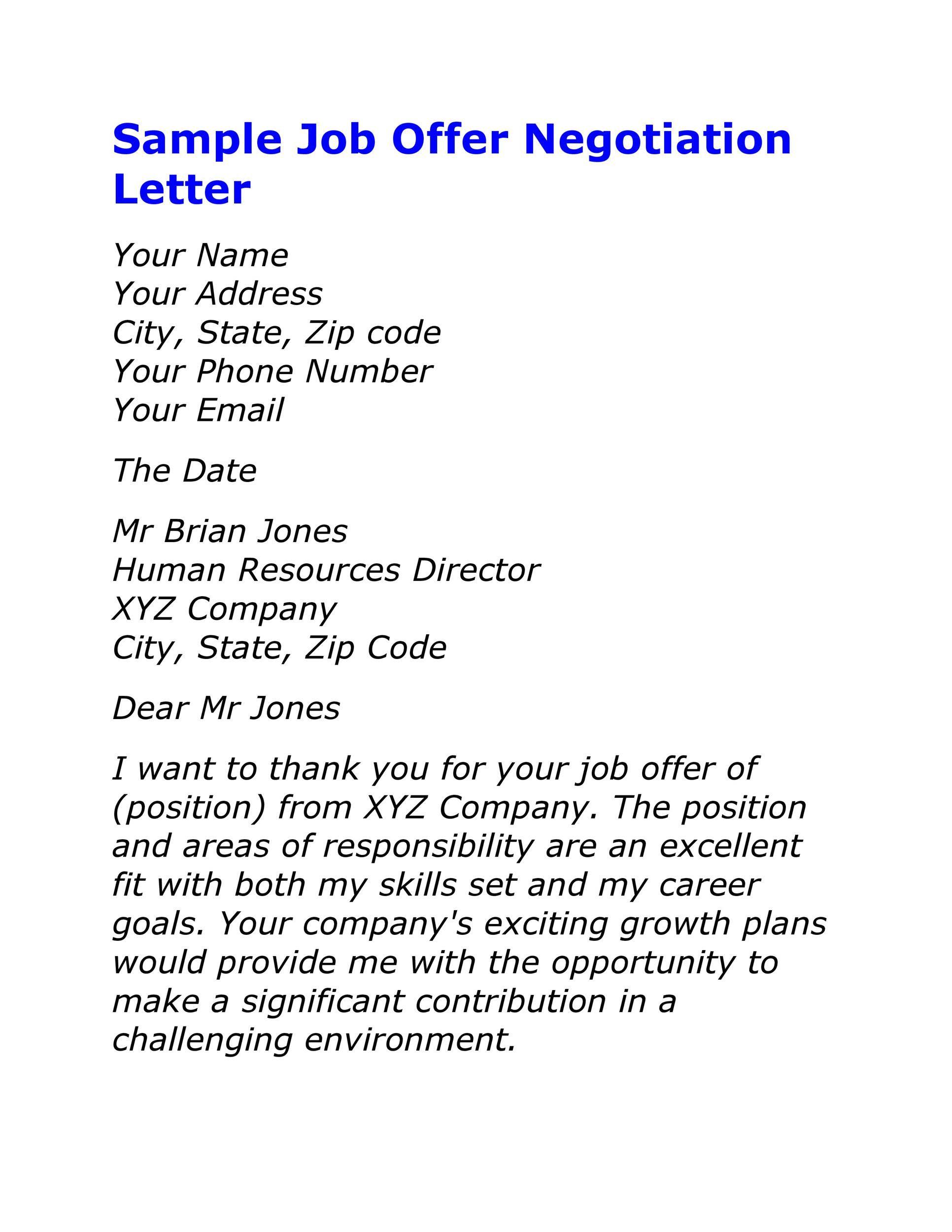 Job Offer Negotiation Letter Sample in 2020 Lettering