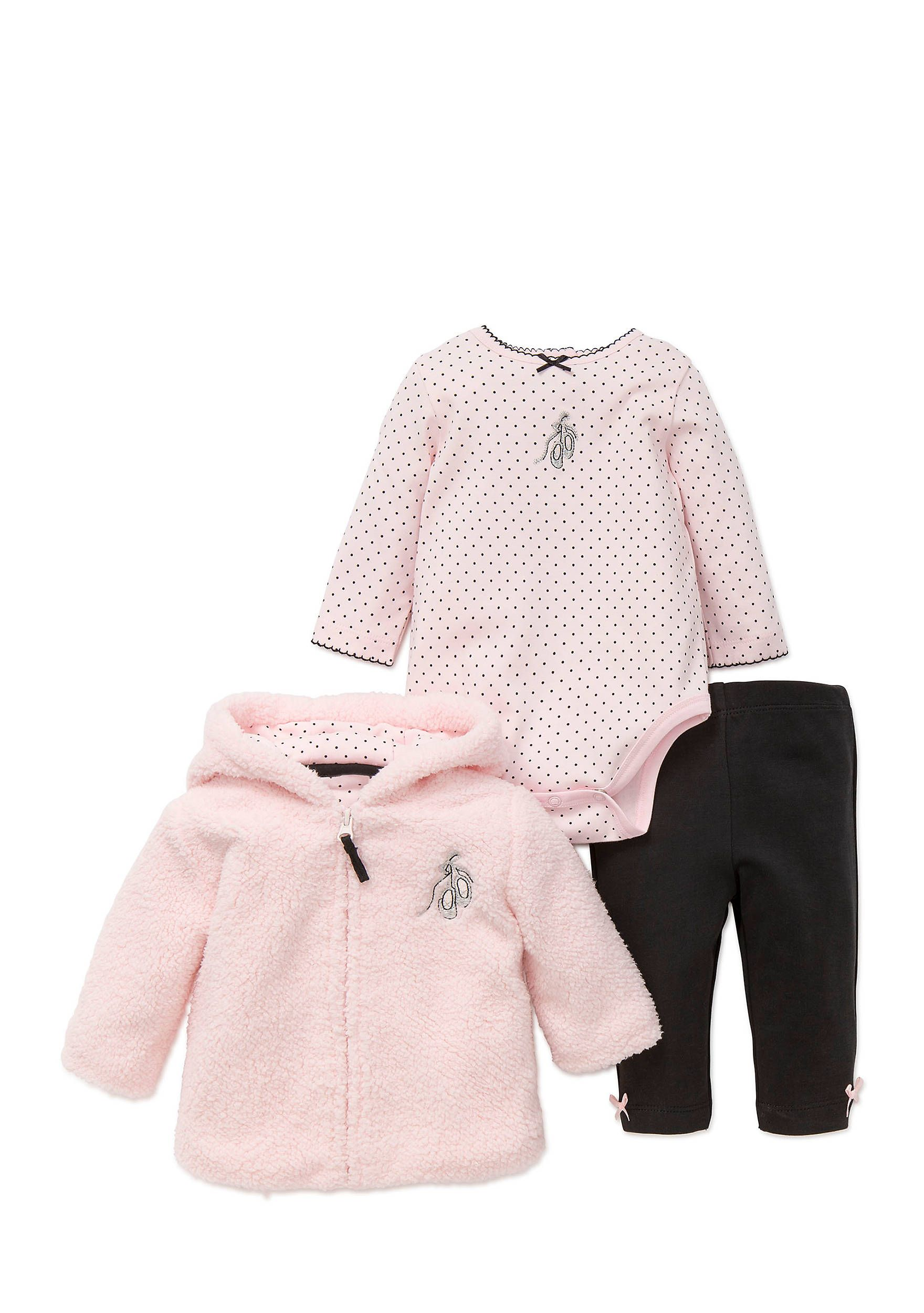 52bd5c9a4 A cozy jacket takes center stage on this trio of newborn baby girl  separates made for your prima ballerina. This sweet and plush set Includes  a long-sleeve ...
