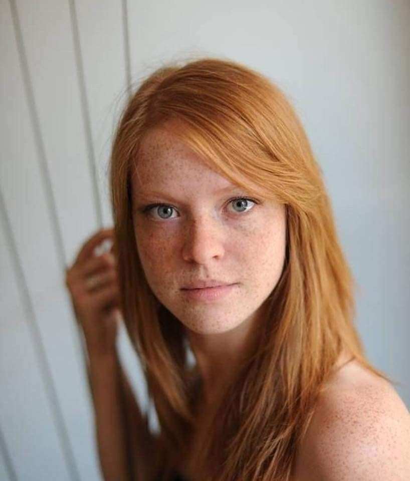 Portrait of redhead melancholic woman stock photo