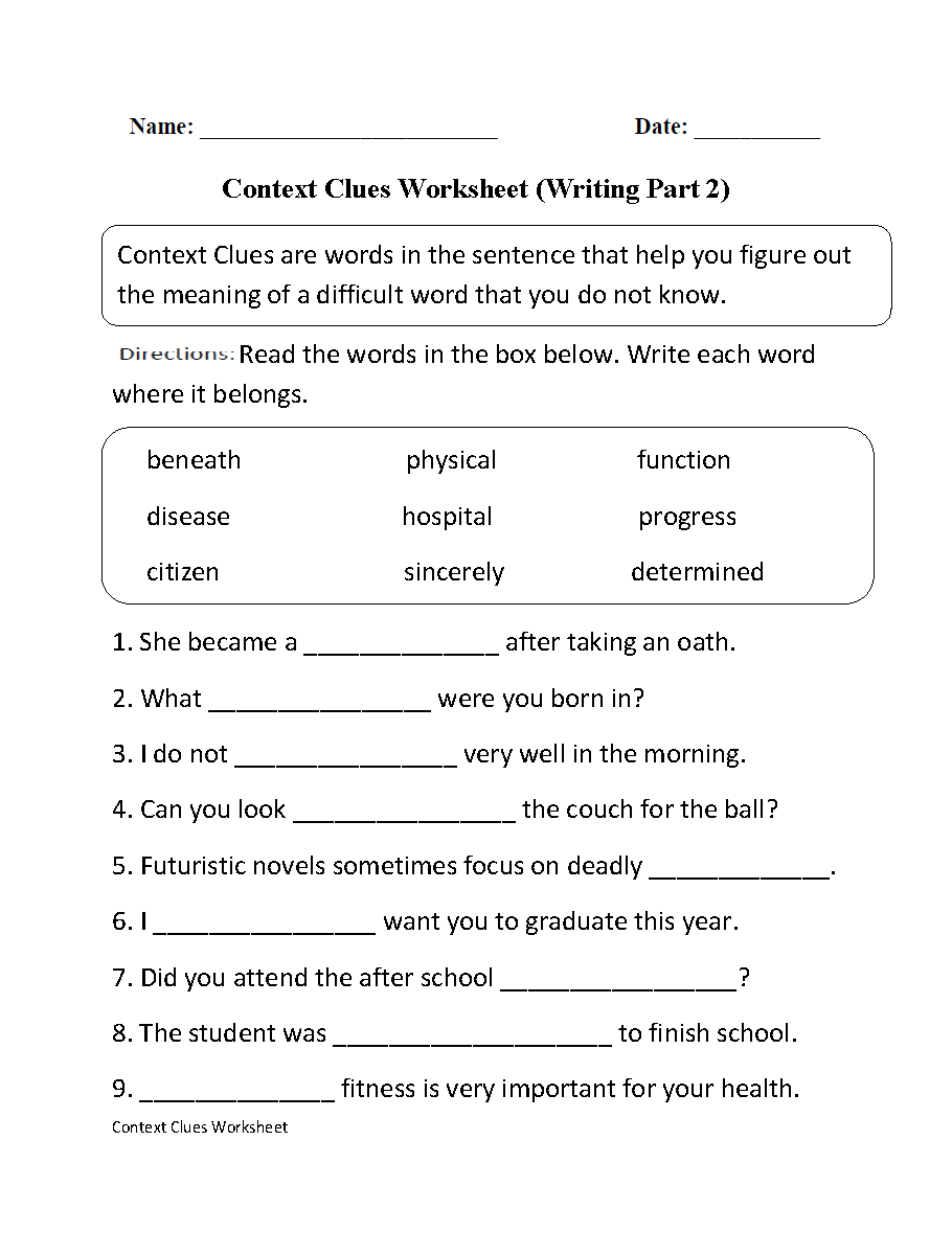 Workbooks writing worksheets for middle school : Context Clues Worksheet Writing Part 2 Intermediate | HomeSchool ...