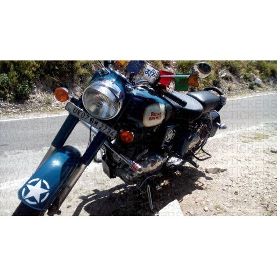 Stencil Star Sticker Applied On Royal Enfield Classic Blue - Classic motorcycle custom stickers