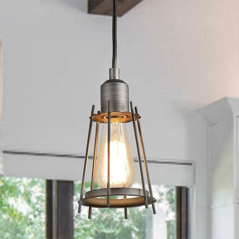 Industrial 1 Light Cage Pendant Lighting For Dining Room Kitchen
