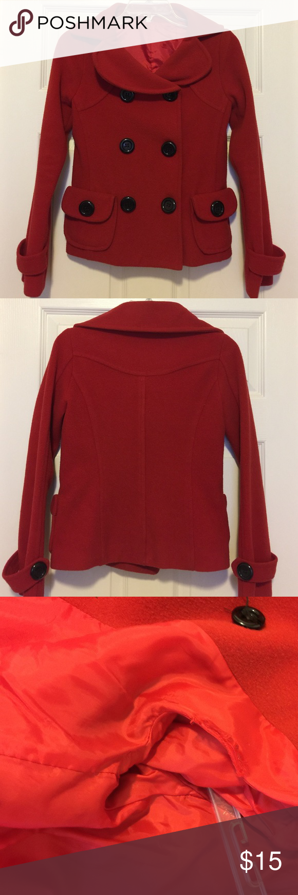 Red Fleece Coat Perfect for the cold season! Red coat with big black buttons and two front pockets. Worn but in good condition - only flaw is undone seam inside, shown in third photo. Tag is faded but size fits like XS. Jackets & Coats Pea Coats