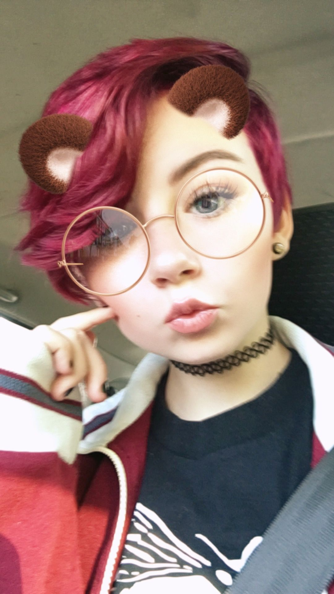Pink and purple short pixie with shaved sides snapchat filter
