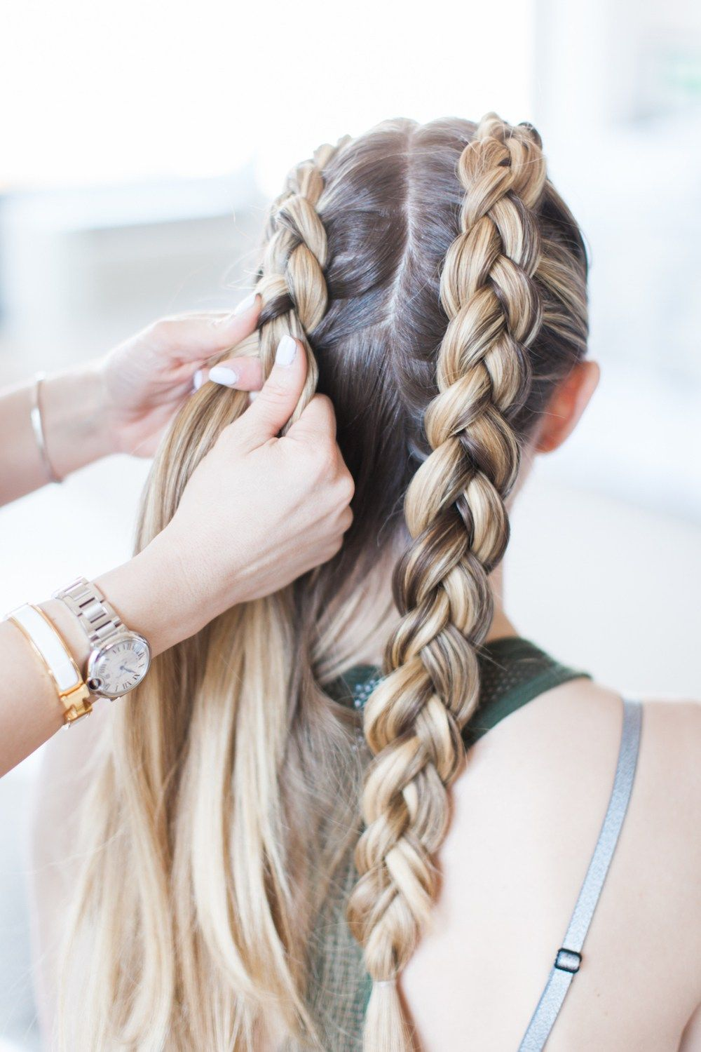 Master These Double Dutch Braids In 3 Steps Less Than 5 Minutes Today On Laurenkelp Com Hair Styles Dutch Braid Hairstyles Bun Hairstyles For Long Hair