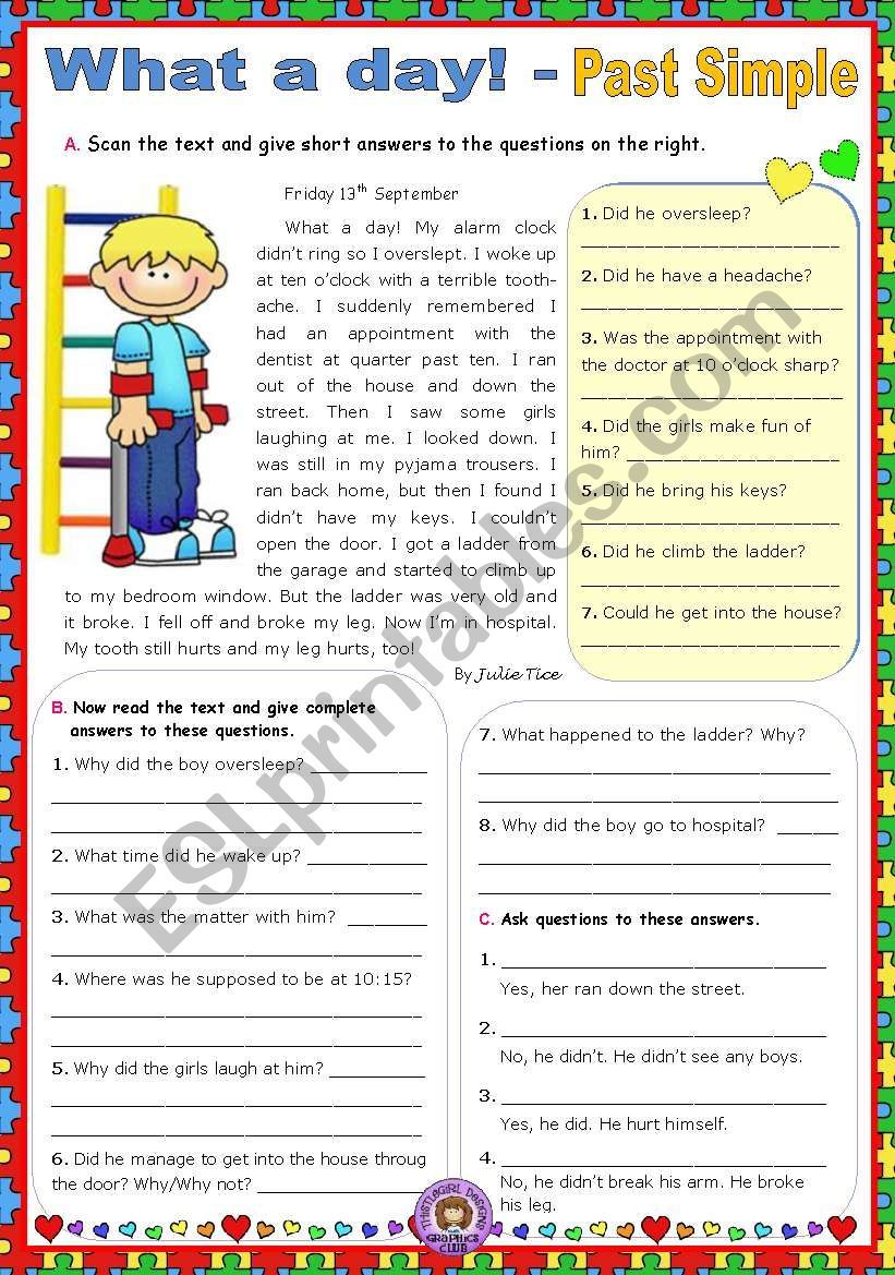 medium resolution of A reading worksheet about a bad day to practise the Past Simple - all forms  (Affirmative