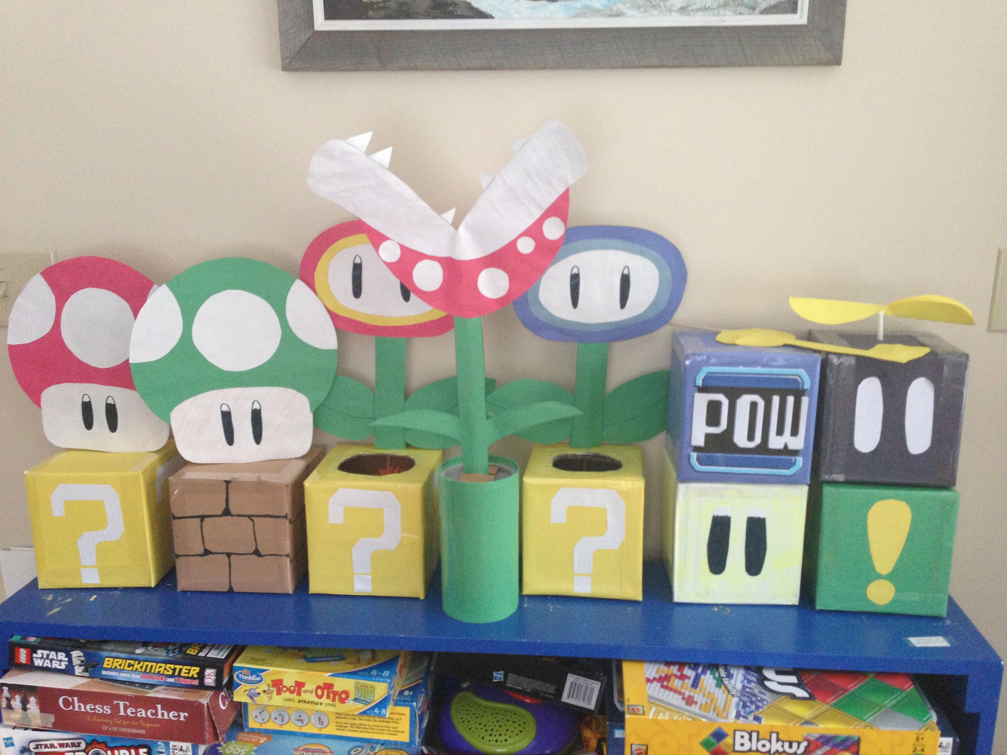 Mario party decorations tissue boxes mario pinterest for Mario decorations