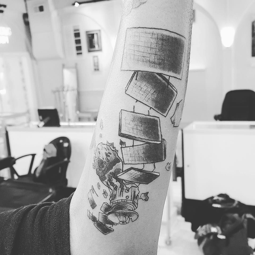 Cool little satelite tattoo by donmeatball done here