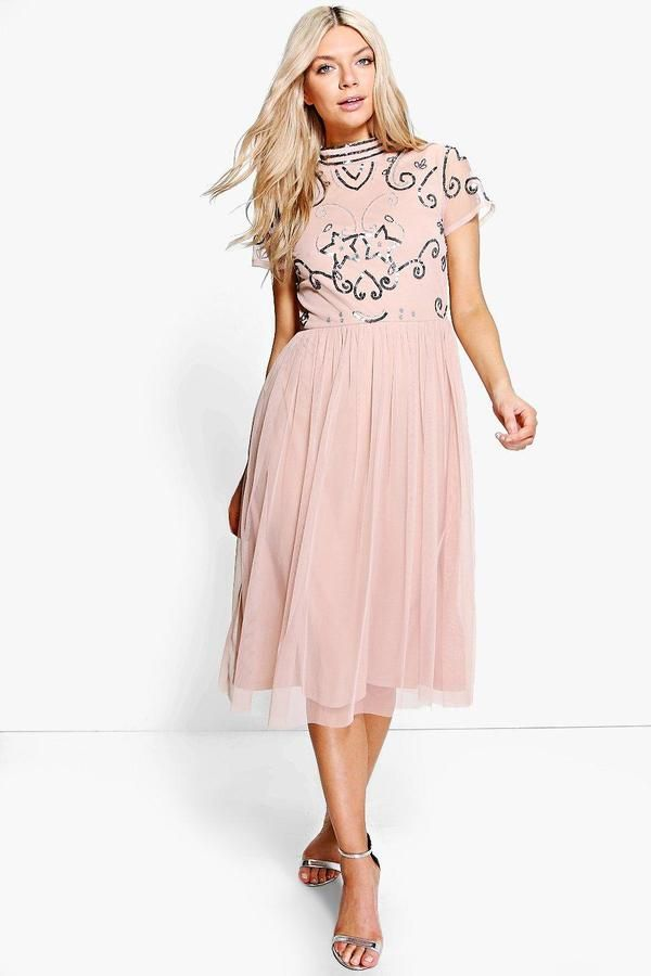 boohoo Boutique Rita Embellished Midi Dress | Pinterest