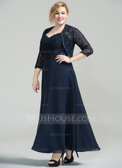 12a6d9a3313 A-Line Princess Sweetheart Ankle-Length Chiffon Lace Mother of the Bride  Dress (008077030) - JJsHouse