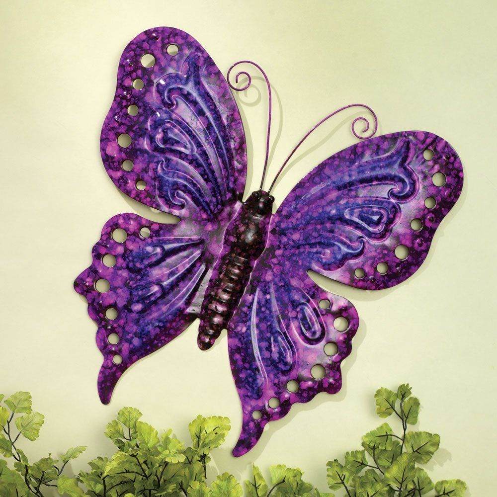 Bits and pieces enameled metal purple butterfly wall decor wall