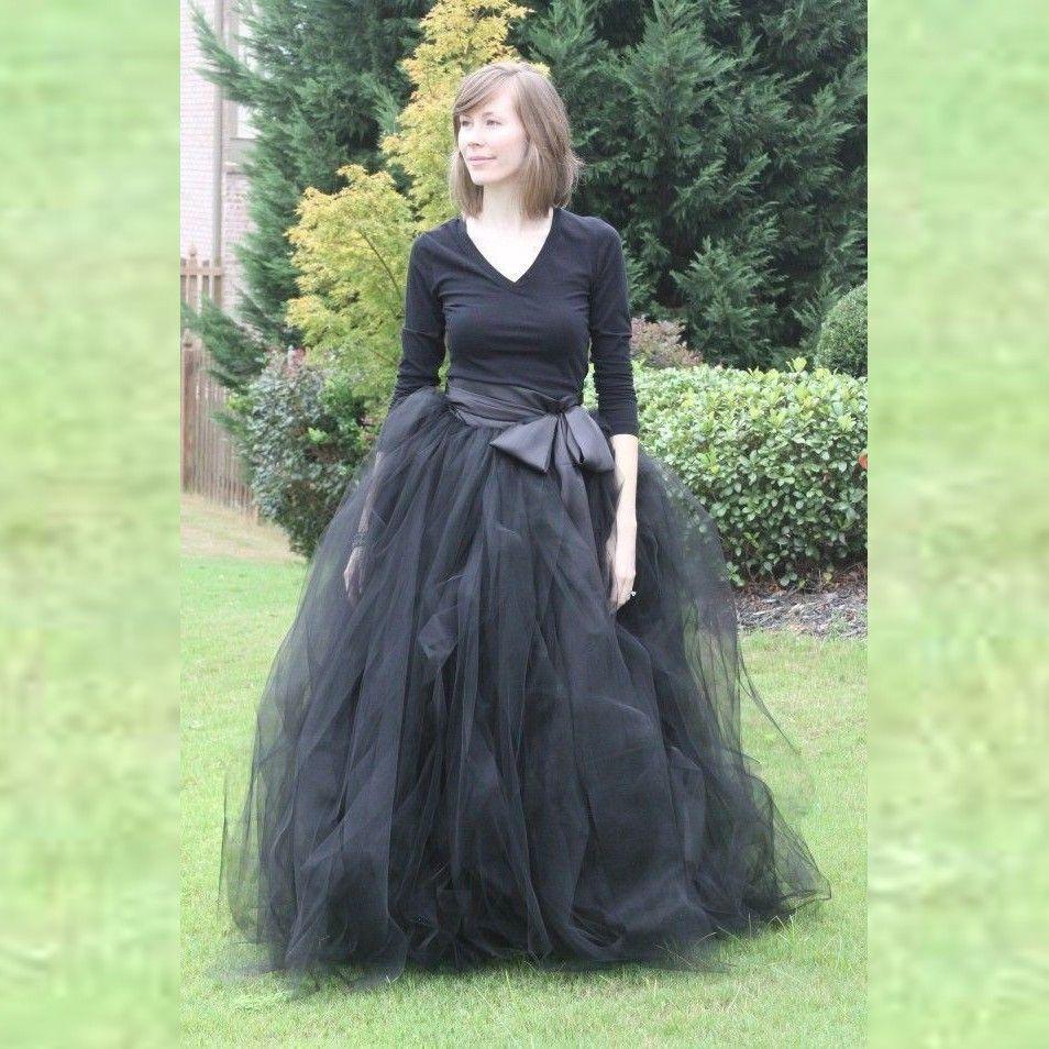 lange zwarte tule rok