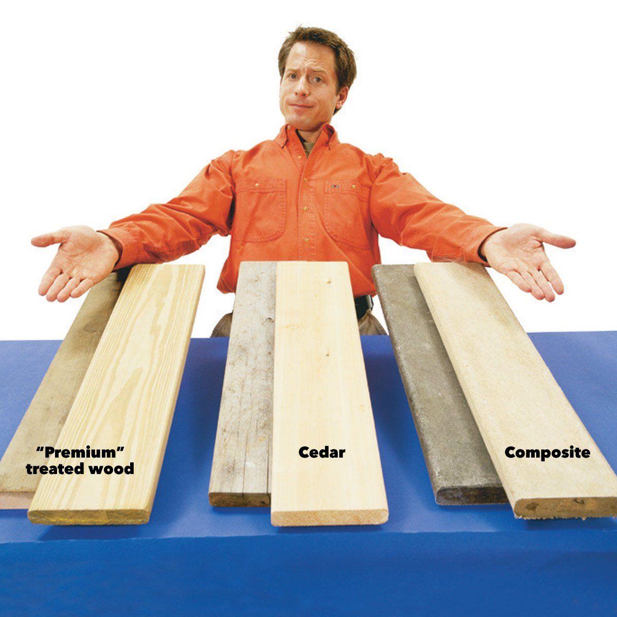 Comparing Wood Deck Options Cedar Pressure Treated Wood Composite Decking Wood Deck Composite Wood Deck Treated Wood Deck